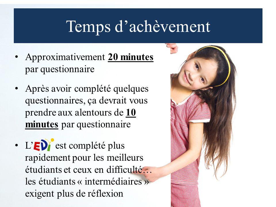 Temps dachèvement Approximativement 20 minutes par questionnaire Après avoir complété quelques questionnaires, ça devrait vous prendre aux alentours de 10 minutes par questionnaire L est complété plus rapidement pour les meilleurs étudiants et ceux en difficulté… les étudiants « intermédiaires » exigent plus de réflexion