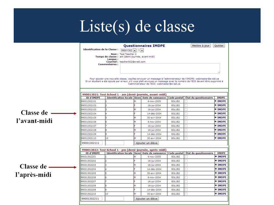Liste(s) de classe Classe de lavant-midi Classe de laprès-midi
