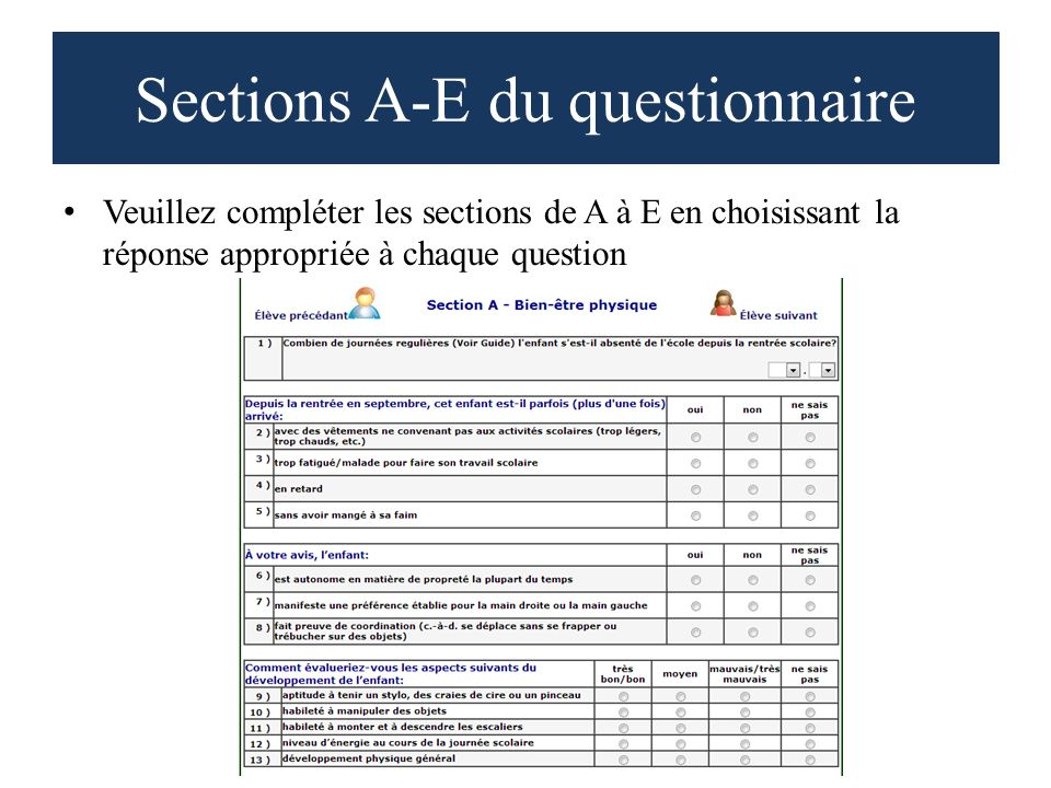 Sections A-E du questionnaire Veuillez compléter les sections de A à E en choisissant la réponse appropriée à chaque question