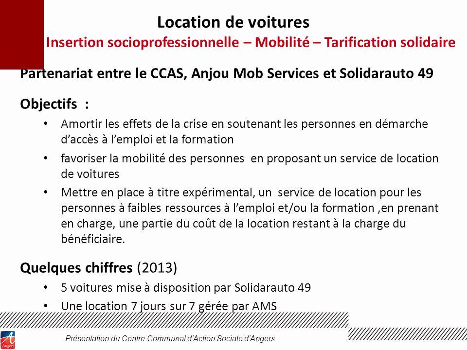 Partenariat entre le CCAS, Anjou Mob Services et Solidarauto 49 Objectifs : Amortir les effets de la crise en soutenant les personnes en démarche dacc