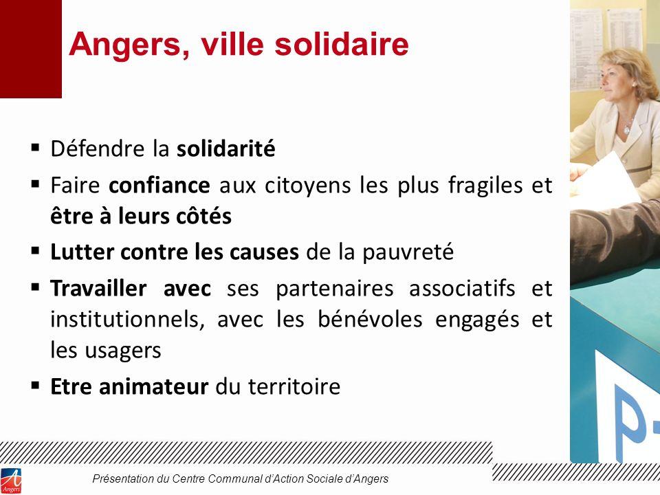 Angers, ville solidaire Défendre la solidarité Faire confiance aux citoyens les plus fragiles et être à leurs côtés Lutter contre les causes de la pau