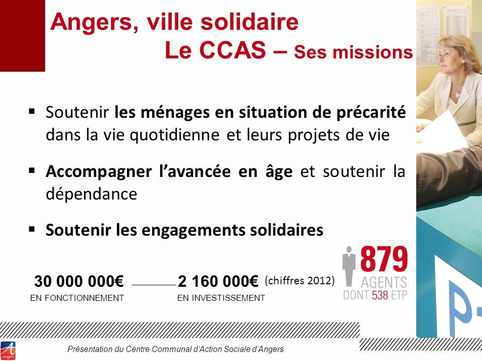 Angers, ville solidaire Le CCAS – Ses missions Soutenir les ménages en situation de précarité dans la vie quotidienne et leurs projets de vie Accompag