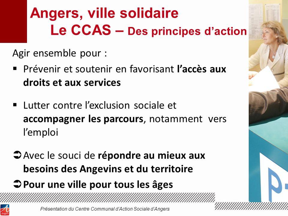 Angers, ville solidaire Le CCAS – Des principes daction Agir ensemble pour : Prévenir et soutenir en favorisant laccès aux droits et aux services Lutt