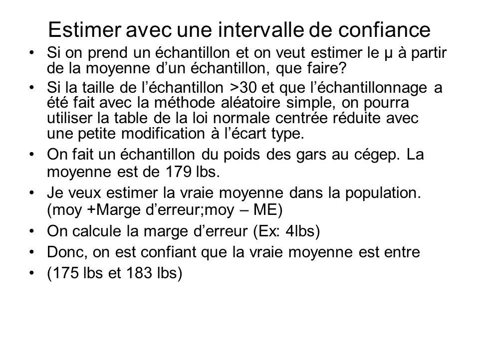 Estimer avec une intervalle de confiance Si on prend un échantillon et on veut estimer le µ à partir de la moyenne dun échantillon, que faire? Si la t
