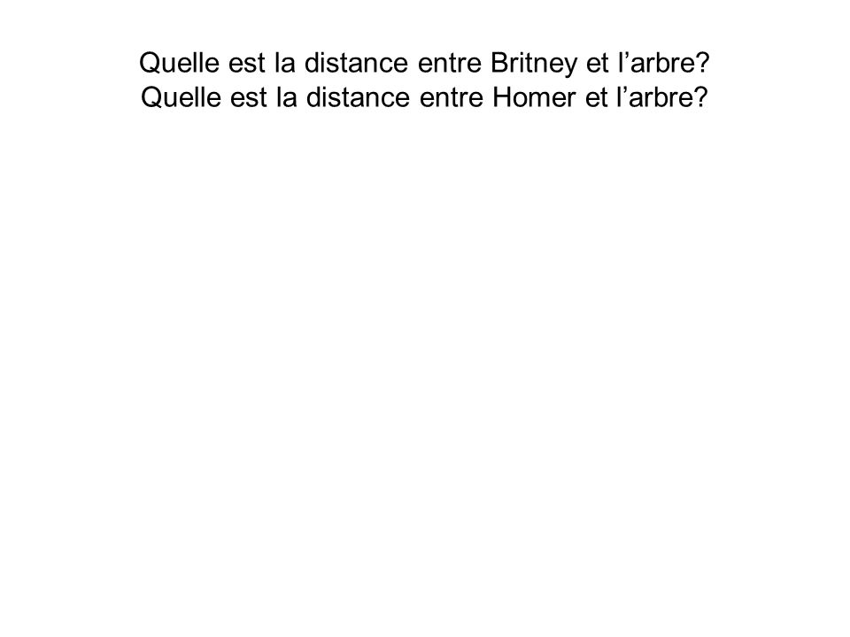 Quelle est la distance entre Britney et larbre? Quelle est la distance entre Homer et larbre?
