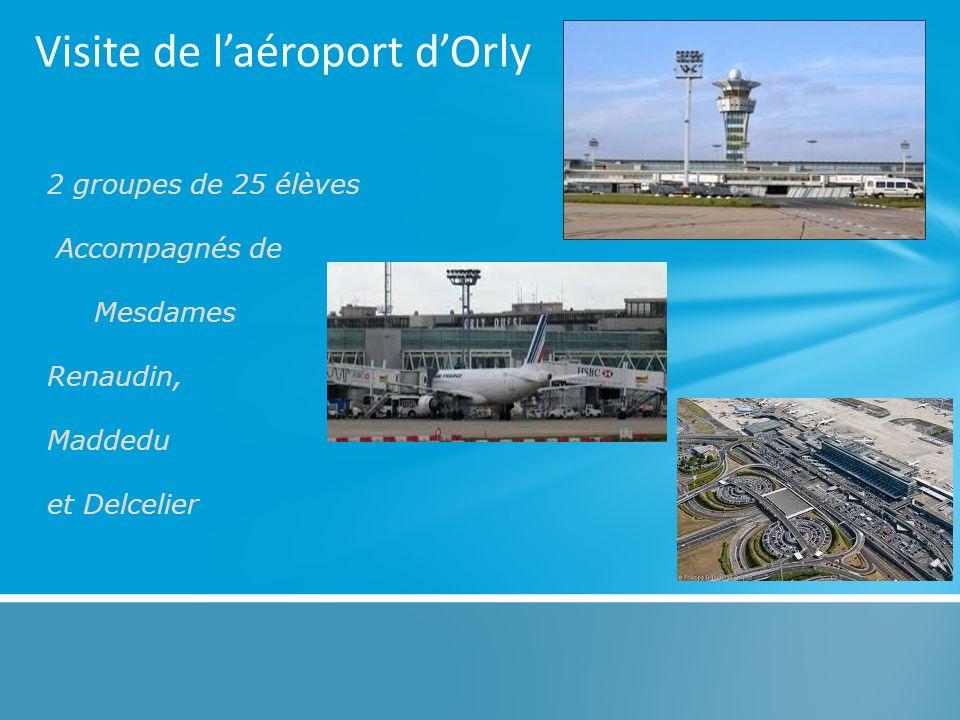 Visite de laéroport dOrly 2 groupes de 25 élèves Accompagnés de Mesdames Renaudin, Maddedu et Delcelier