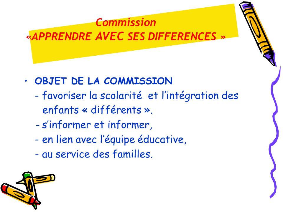 OBJET DE LA COMMISSION - favoriser la scolarité et lintégration des enfants « différents ». - sinformer et informer, - en lien avec léquipe éducative,