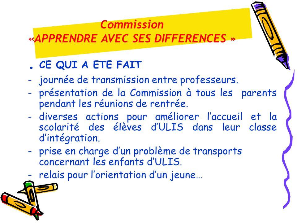 . CE QUI A ETE FAIT -journée de transmission entre professeurs. -présentation de la Commission à tous les parents pendant les réunions de rentrée. - d