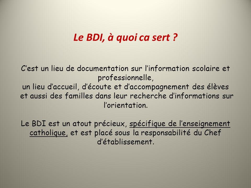 Le BDI, à quoi ca sert ? Cest un lieu de documentation sur linformation scolaire et professionnelle, un lieu daccueil, découte et daccompagnement des