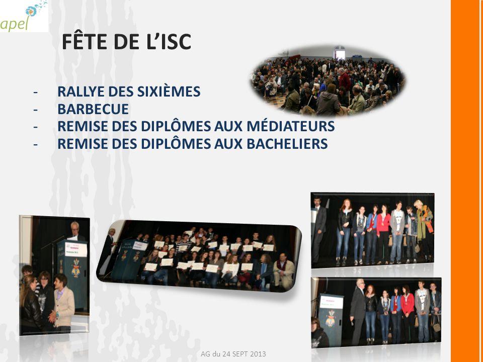 FÊTE DE LISC -RALLYE DES SIXIÈMES -BARBECUE -REMISE DES DIPLÔMES AUX MÉDIATEURS -REMISE DES DIPLÔMES AUX BACHELIERS AG du 24 SEPT 2013