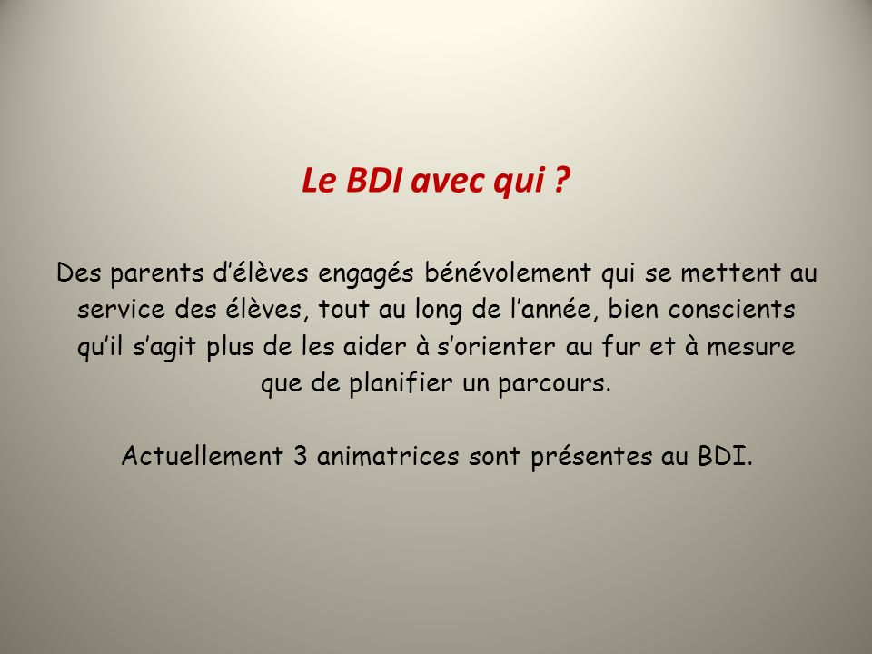 Le BDI, quels supports .