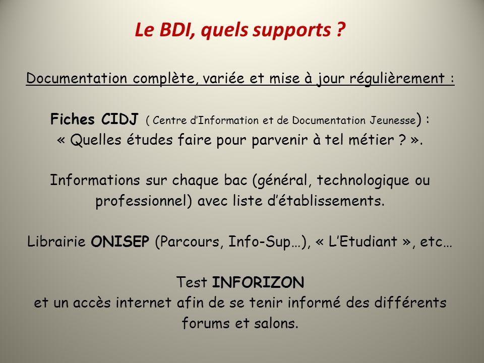 Le BDI, quels supports ? Documentation complète, variée et mise à jour régulièrement : Fiches CIDJ ( Centre dInformation et de Documentation Jeunesse