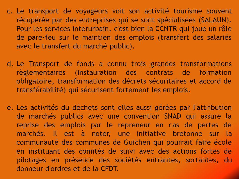 c. Le transport de voyageurs voit son activité tourisme souvent récupérée par des entreprises qui se sont spécialisées (SALAUN). Pour les services int