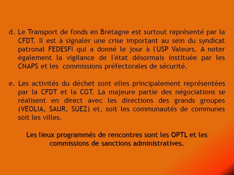 d. Le Transport de fonds en Bretagne est surtout représenté par la CFDT. Il est à signaler une crise important au sein du syndicat patronal FEDESFI qu