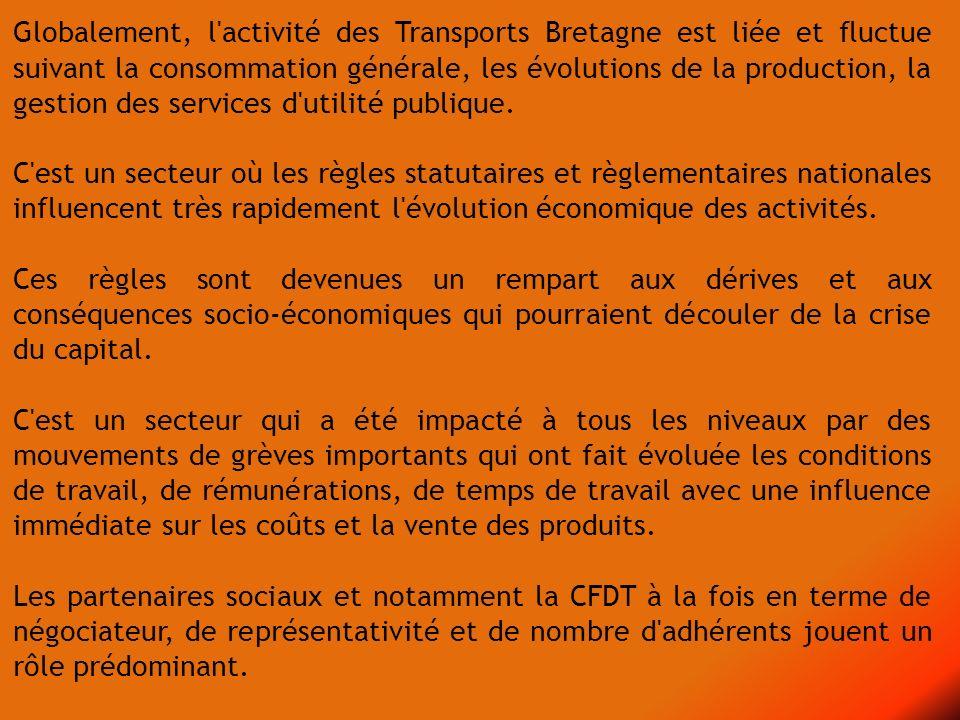 Globalement, l'activité des Transports Bretagne est liée et fluctue suivant la consommation générale, les évolutions de la production, la gestion des