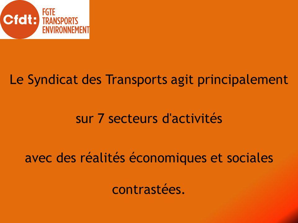 Le Syndicat des Transports agit principalement sur 7 secteurs d'activités avec des réalités économiques et sociales contrastées.