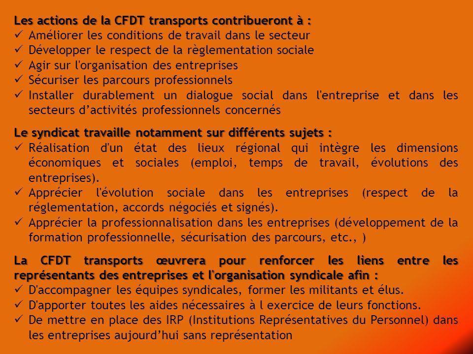 Les actions de la CFDT transports contribueront à : Améliorer les conditions de travail dans le secteur Développer le respect de la règlementation soc