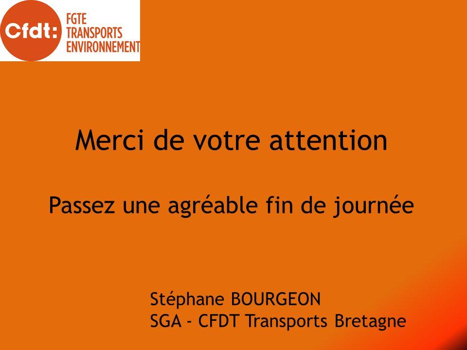 Merci de votre attention Passez une agréable fin de journée Stéphane BOURGEON SGA - CFDT Transports Bretagne