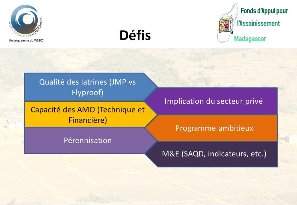 Qualité des latrines (JMP vs Flyproof) Implication du secteur privé Capacité des AMO (Technique et Financière) M&E (SAQD, indicateurs, etc.) Pérennisa