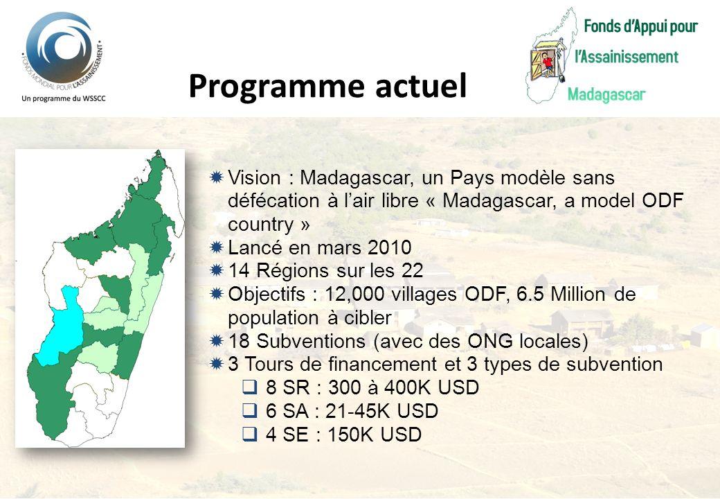 Vision : Madagascar, un Pays modèle sans défécation à lair libre « Madagascar, a model ODF country » Lancé en mars 2010 14 Régions sur les 22 Objectif