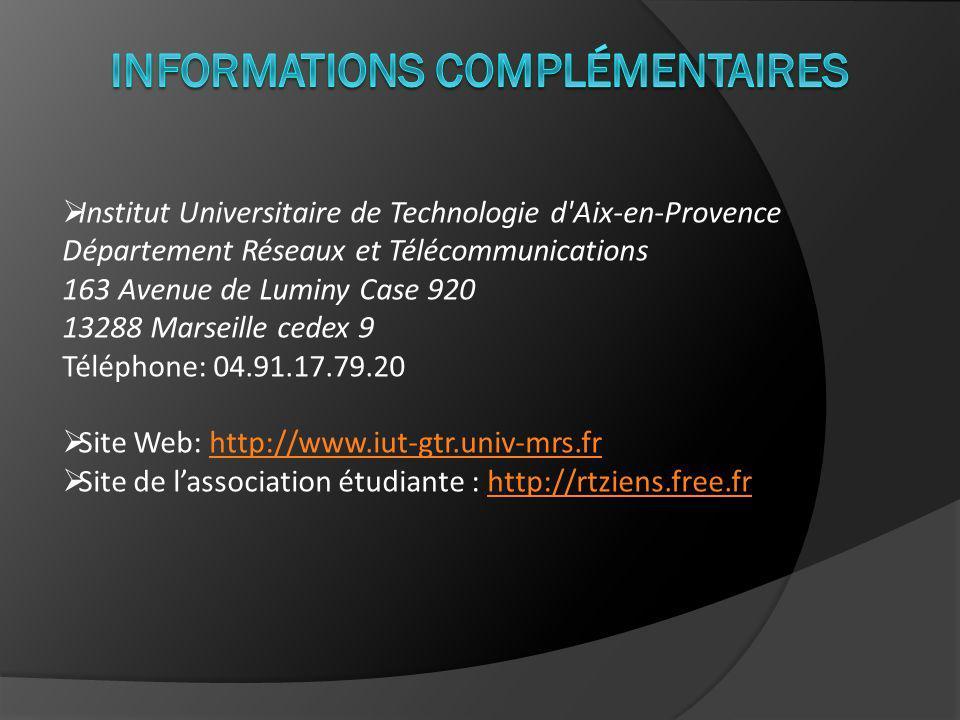 Institut Universitaire de Technologie d Aix-en-Provence Département Réseaux et Télécommunications 163 Avenue de Luminy Case 920 13288 Marseille cedex 9 Téléphone: 04.91.17.79.20 Site Web: http://www.iut-gtr.univ-mrs.frhttp://www.iut-gtr.univ-mrs.fr Site de lassociation étudiante : http://rtziens.free.frhttp://rtziens.free.fr