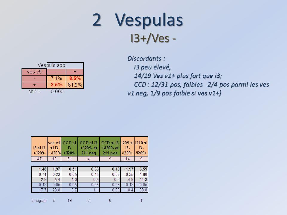2 Vespulas I3+/Ves - Discordants : i3 peu élevé, i3 peu élevé, 14/19 Ves v1+ plus fort que i3; 14/19 Ves v1+ plus fort que i3; CCD : 12/31 pos, faibles 2/4 pos parmi les ves v1 neg, 1/9 pos faible si ves v1+) CCD : 12/31 pos, faibles 2/4 pos parmi les ves v1 neg, 1/9 pos faible si ves v1+)