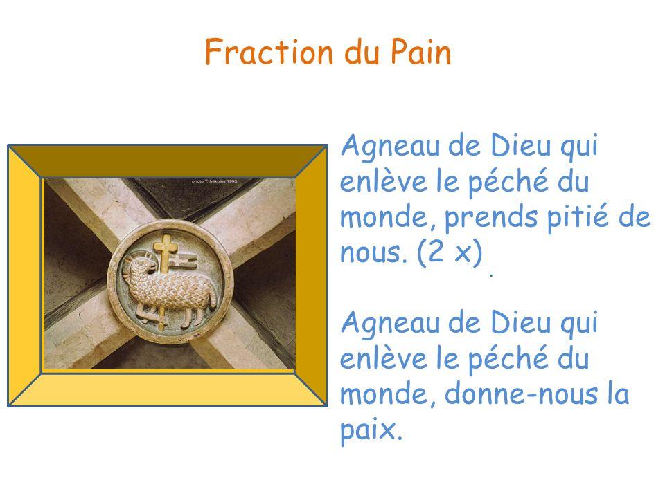. Fraction du Pain Agneau de Dieu qui enlève le péché du monde, prends pitié de nous. (2 x) Agneau de Dieu qui enlève le péché du monde, donne-nous la