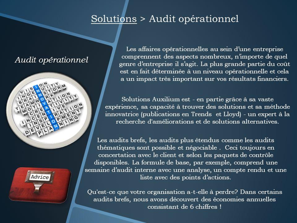 Audit opérationnel Solutions > Audit opérationnel Les affaires opérationnelles au sein dune entreprise comprennent des aspects nombreux, nimporte de q