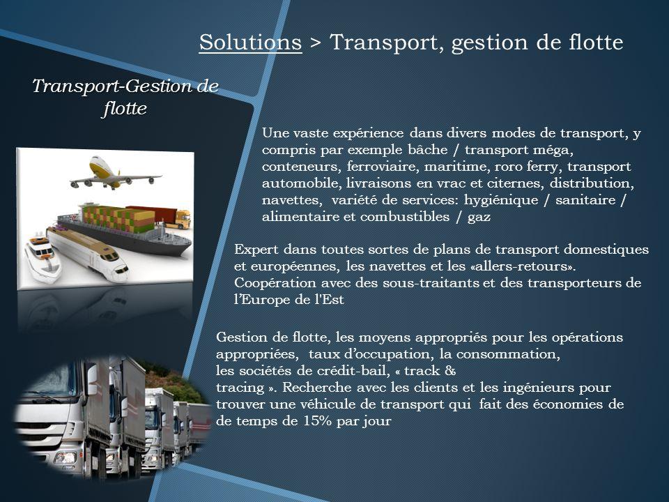 Transport-Gestion de flotte Solutions > Transport, gestion de flotte Une vaste expérience dans divers modes de transport, y compris par exemple bâche