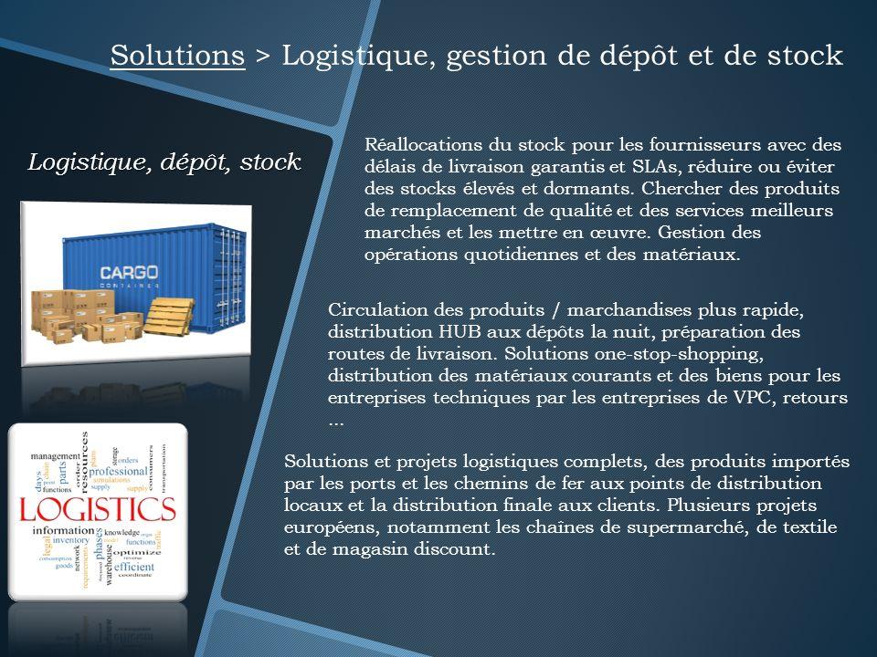 Logistique, dépôt, stock Solutions > Logistique, gestion de dépôt et de stock Réallocations du stock pour les fournisseurs avec des délais de livraiso