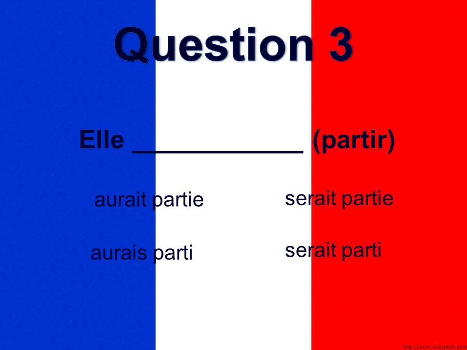 Elle ____________ (partir) serait partie aurais parti aurait partie serait parti