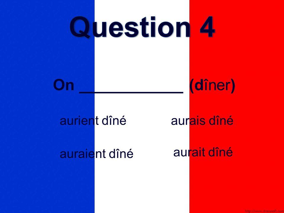 On ____________ (dîner) aurais dîné auraient dîné aurient dîné aurait dîné