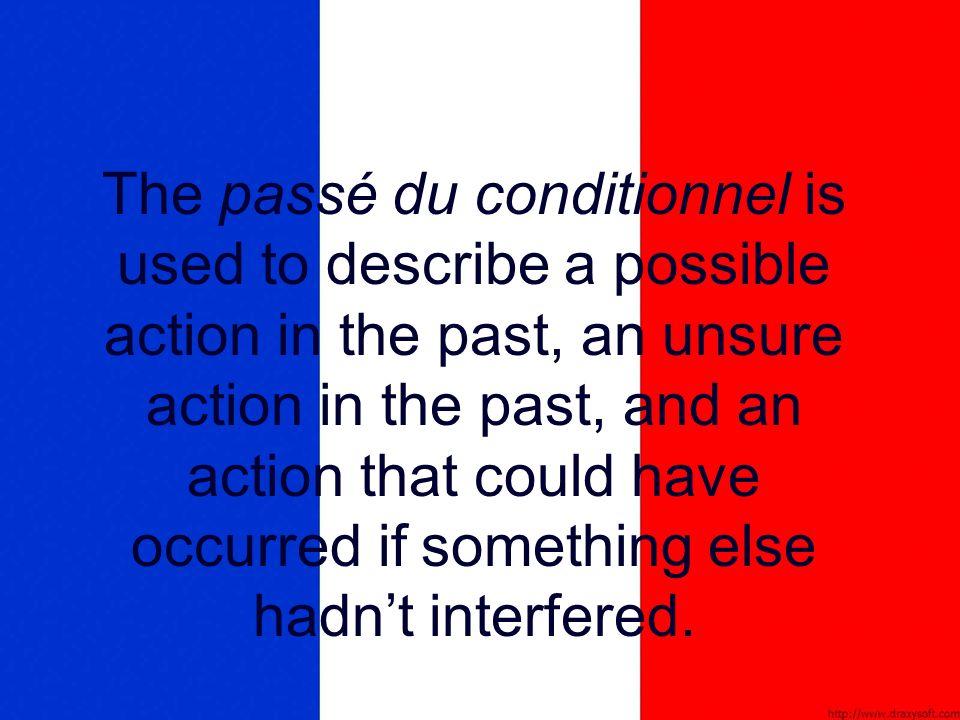 To use the passé du conditionnel: -Use the same past participle as in the passé composé.