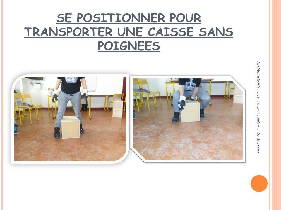 SE POSITIONNER POUR TRANSPORTER UNE CAISSE SANS POIGNEES N. CALDERONI / LTP Célony / Académie Aix-Marseille