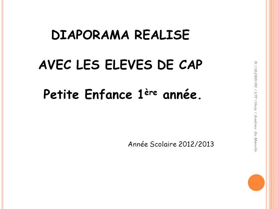 DIAPORAMA REALISE AVEC LES ELEVES DE CAP Petite Enfance 1 ère année. Année Scolaire 2012/2013 N. CALDERONI / LTP Célony / Académie Aix-Marseille