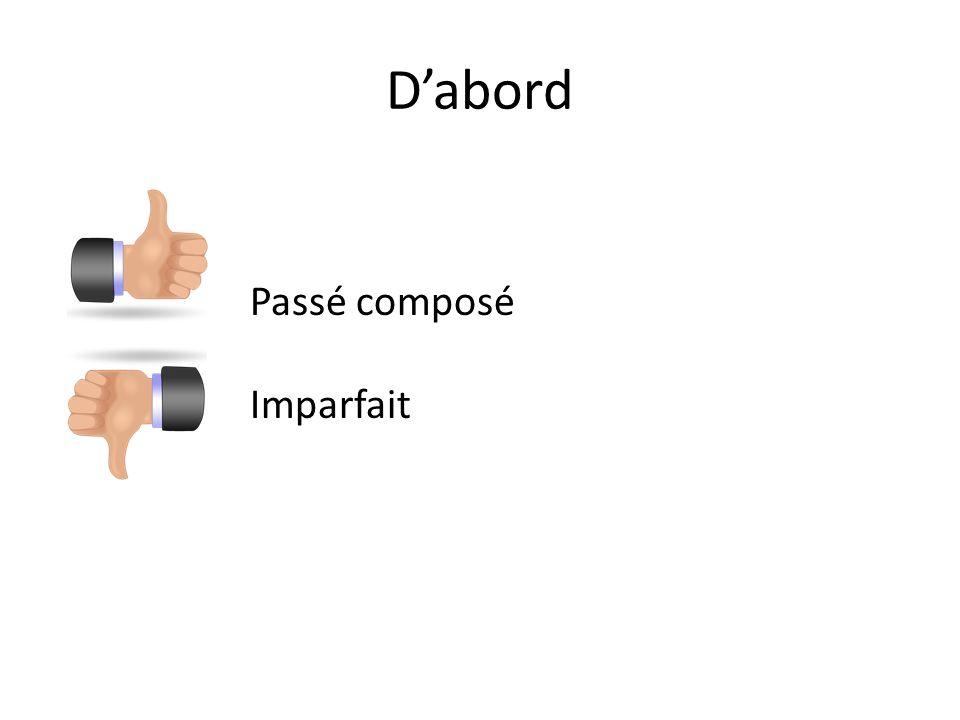 Dabord Passé composé Imparfait