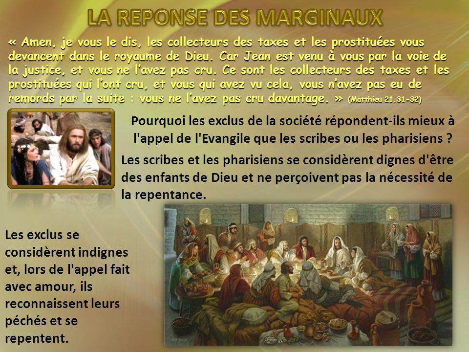 « Amen, je vous le dis, les collecteurs des taxes et les prostituées vous devancent dans le royaume de Dieu. Car Jean est venu à vous par la voie de l