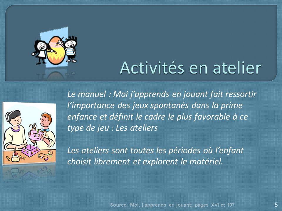 Le manuel : Moi japprends en jouant fait ressortir limportance des jeux spontanés dans la prime enfance et définit le cadre le plus favorable à ce typ