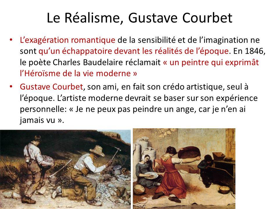 Le Réalisme, Gustave Courbet Lexagération romantique de la sensibilité et de limagination ne sont quun échappatoire devant les réalités de lépoque. En