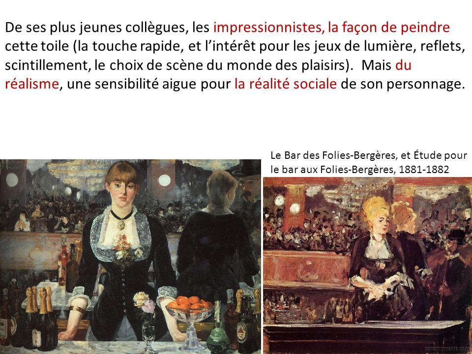 De ses plus jeunes collègues, les impressionnistes, la façon de peindre cette toile (la touche rapide, et lintérêt pour les jeux de lumière, reflets,