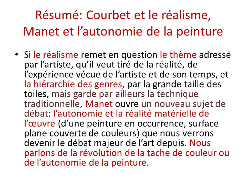 Résumé: Courbet et le réalisme, Manet et lautonomie de la peinture Si le réalisme remet en question le thème adressé par lartiste, quil veut tiré de l