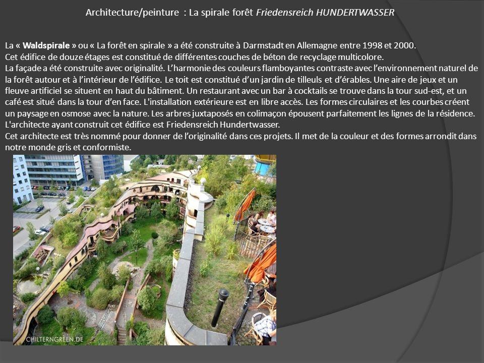 Architecture/peinture : La spirale forêt Friedensreich HUNDERTWASSER La « Waldspirale » ou « La forêt en spirale » a été construite à Darmstadt en All