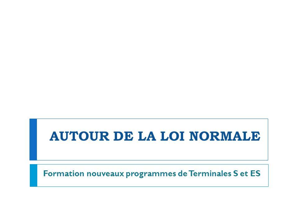 AUTOUR DE LA LOI NORMALE Formation nouveaux programmes de Terminales S et ES