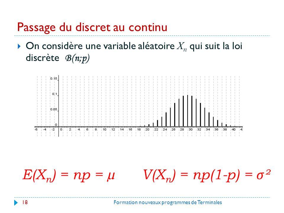 Passage du discret au continu On considère une variable aléatoire X n qui suit la loi discrète B(n;p) 18Formation nouveaux programmes de Terminales E(X n ) = np = µ V(X n ) = np(1-p) = σ ²