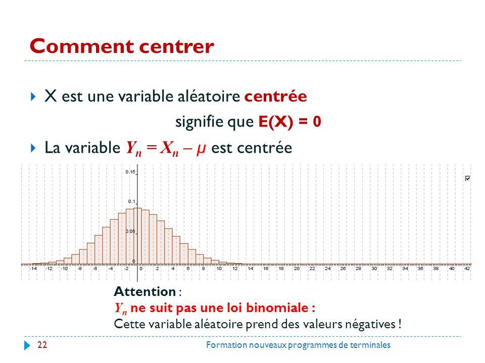 Comment centrer X est une variable aléatoire centrée signifie que E(X) = 0 La variable Y n = X n – µ est centrée 22Formation nouveaux programmes de terminales Attention : Y n ne suit pas une loi binomiale : Cette variable aléatoire prend des valeurs négatives !