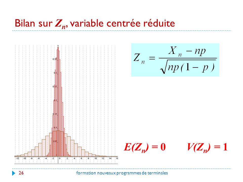 Bilan sur Z n, variable centrée réduite 26formation nouveaux programmes de terminales E(Z n ) = 0V(Z n ) = 1