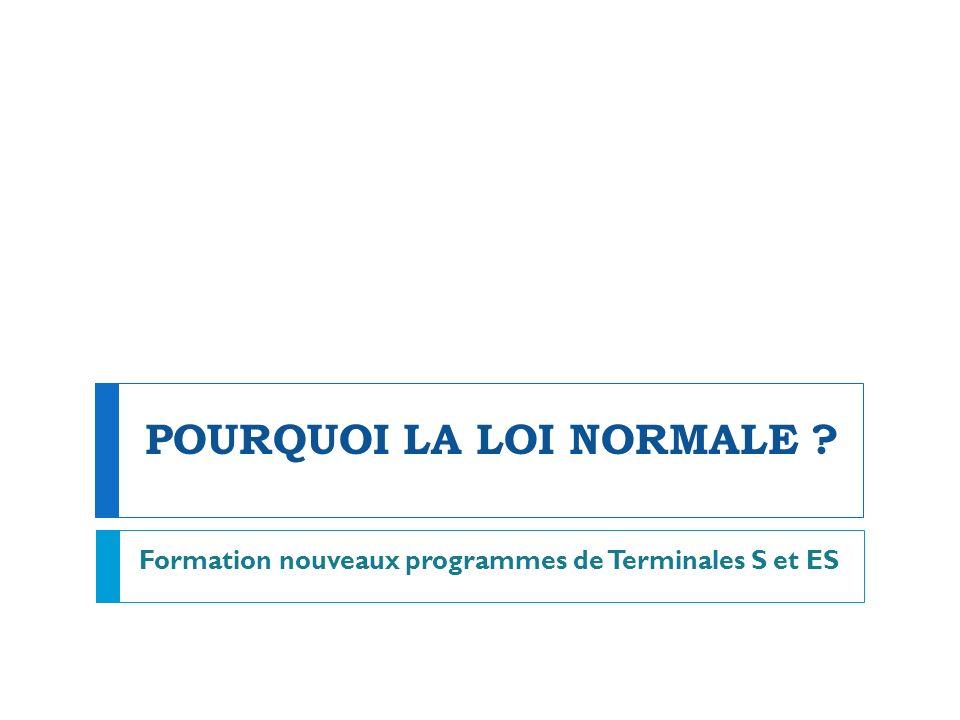 POURQUOI LA LOI NORMALE ? Formation nouveaux programmes de Terminales S et ES
