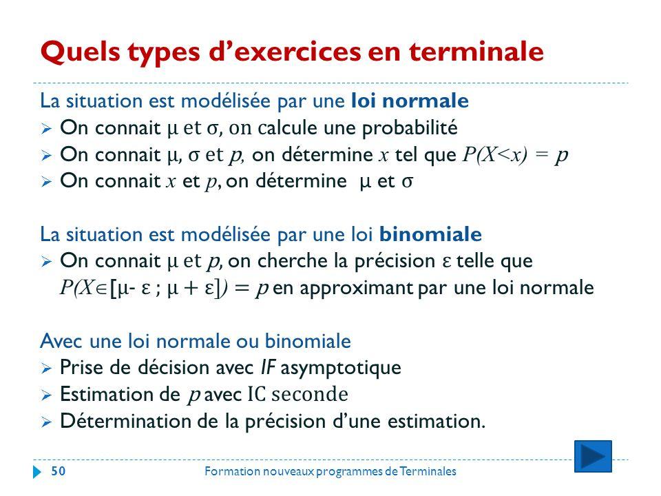 Quels types dexercices en terminale La situation est modélisée par une loi normale On connait μ et σ, on c alcule une probabilité On connait μ, σ et p, on détermine x tel que P(X<x) = p On connait x et p, on détermine μ et σ La situation est modélisée par une loi binomiale On connait μ et p, on cherche la précision ε telle que P(X [ μ- ε ; μ + ε] ) = p en approximant par une loi normale Avec une loi normale ou binomiale Prise de décision avec IF asymptotique Estimation de p avec IC seconde Détermination de la précision dune estimation.