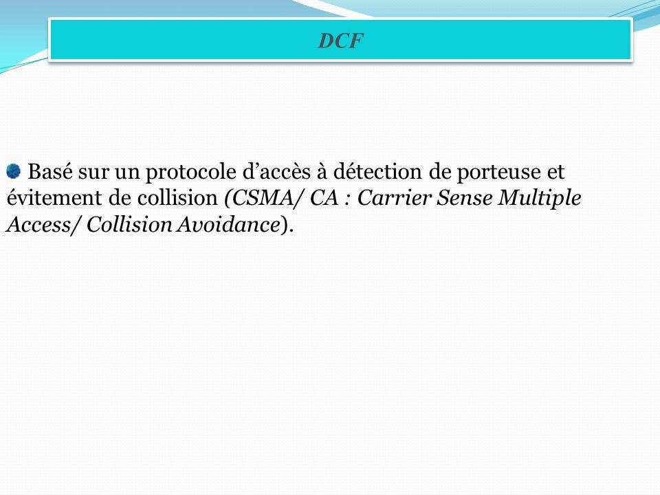 Basé sur un protocole daccès à détection de porteuse et évitement de collision (CSMA/ CA : Carrier Sense Multiple Access/ Collision Avoidance). DCF