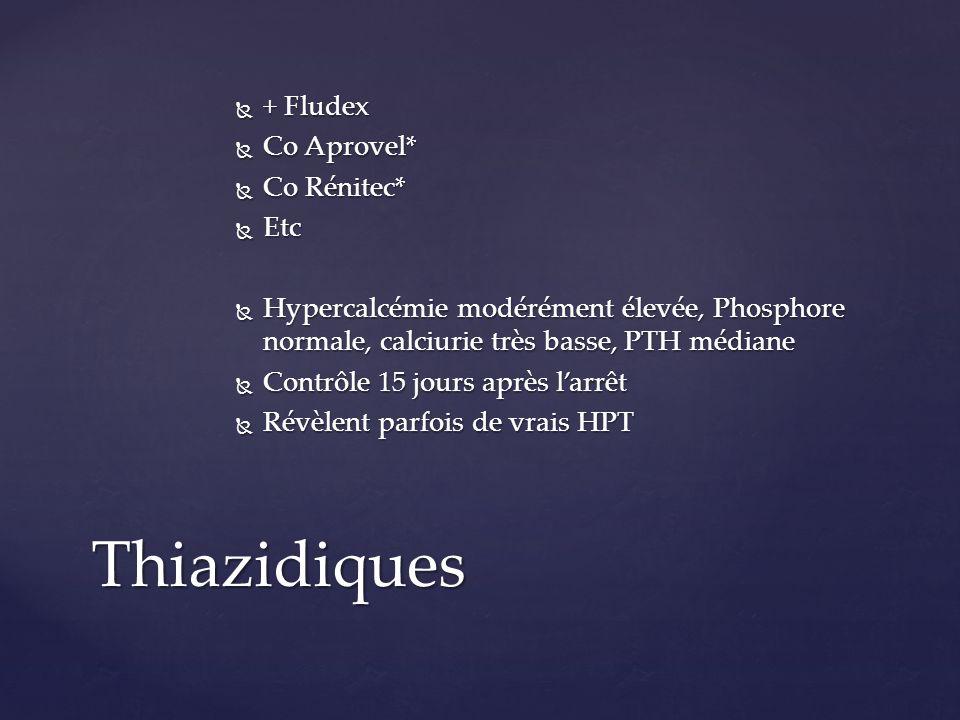 + Fludex + Fludex Co Aprovel* Co Aprovel* Co Rénitec* Co Rénitec* Etc Etc Hypercalcémie modérément élevée, Phosphore normale, calciurie très basse, PT